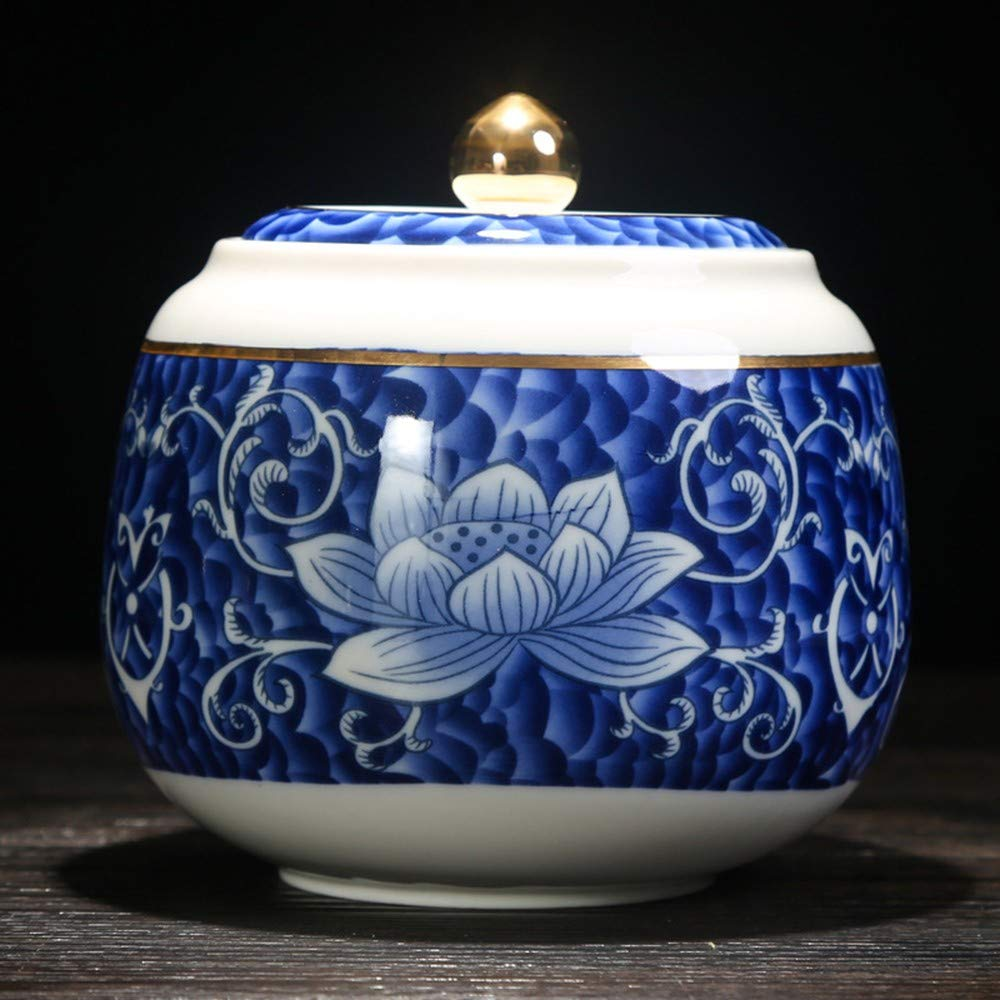 bluee Big bluee Big ZYHJAMA Ashes cremation urn ceramic funeral urn, suitable for cats and dogs pets or a small amount of human ashes, memorial ashes urn