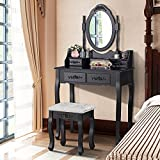 Mecor Dressing Table Makeup Desk with Stool,4 Drawers andl Mirror ,Black