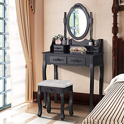 Mecor Dressing Table Makeup Desk with Stool,4 Drawers andl Mirror ,Black by mecor