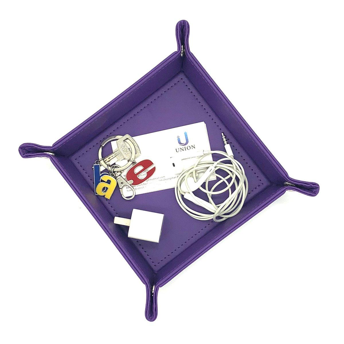Unionbasic Bandeja de almacenamiento multifunci/ón de piel sint/ética para joyas monedas llaves tel/éfono color marr/ón