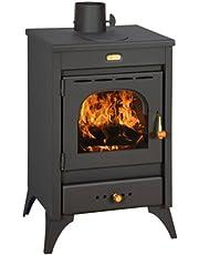 Stufa a legna carbone acciaio Kir 9/12 Kw vetro ceramico piastra cottura