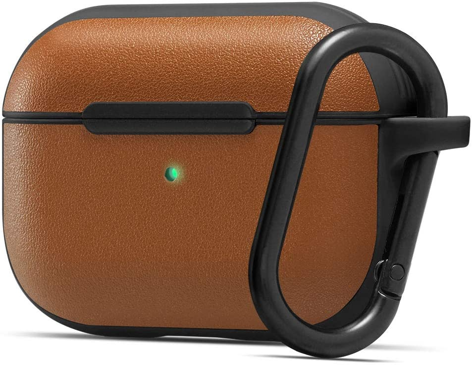 CYRILL Leather Brick Designed for Apple Airpods Pro Case (2019) - Saddle Brown