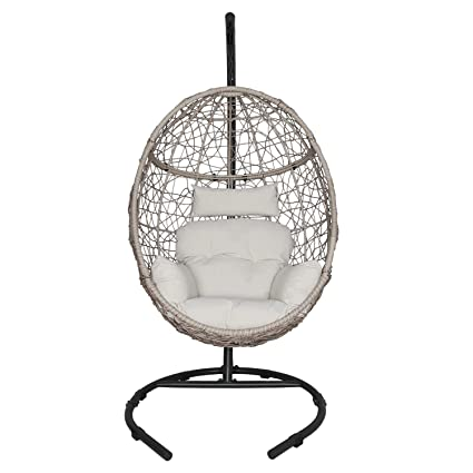 Fantastic Ulax Furniture Outdoor Patio Wicker Hanging Basket Swing Chair Tear Drop Egg Chair With Cushion And Stand Beige Bralicious Painted Fabric Chair Ideas Braliciousco