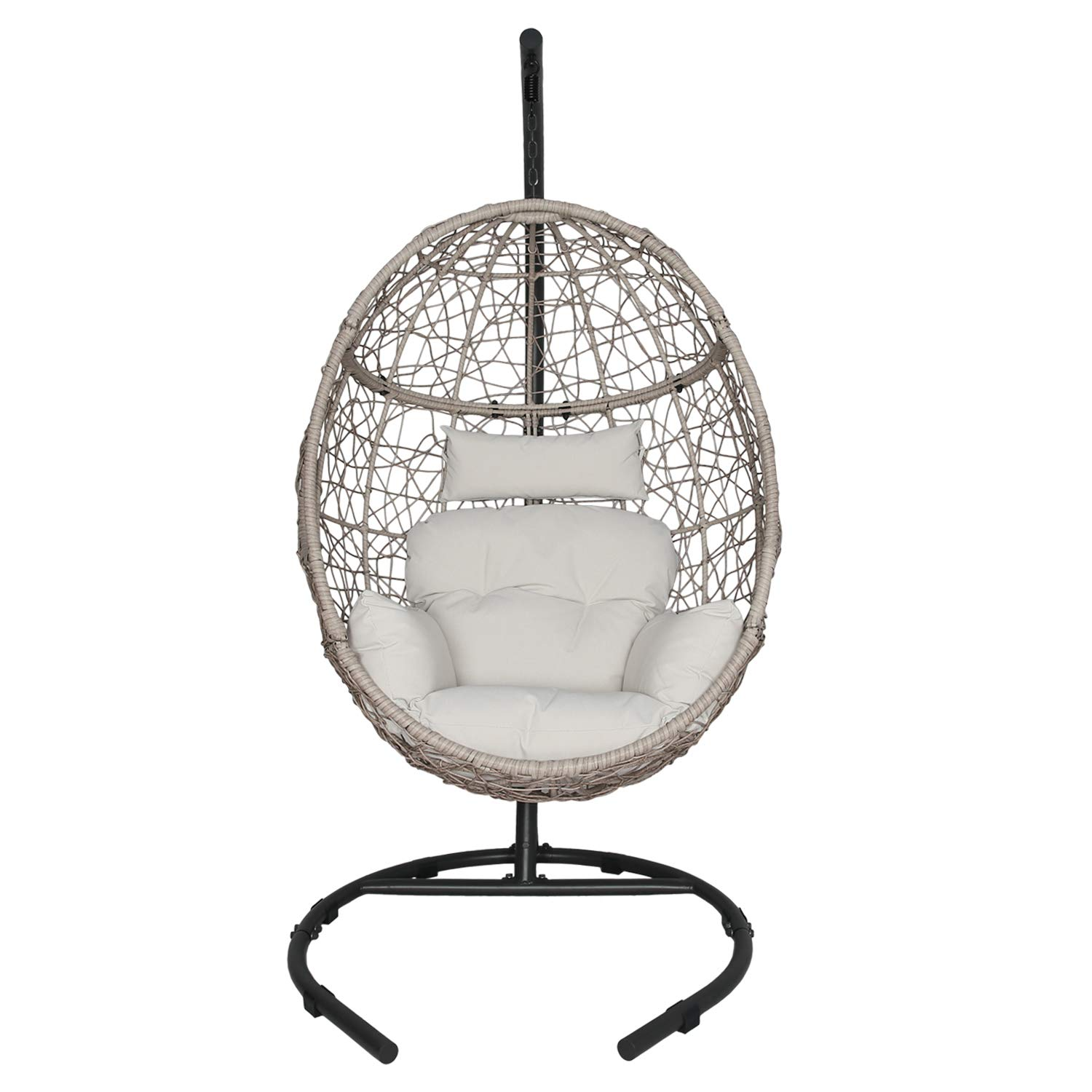 Ulax furniture Outdoor Patio Wicker Hanging Basket Swing Chair Tear Drop Egg Chair with Cushion and Stand (Beige)