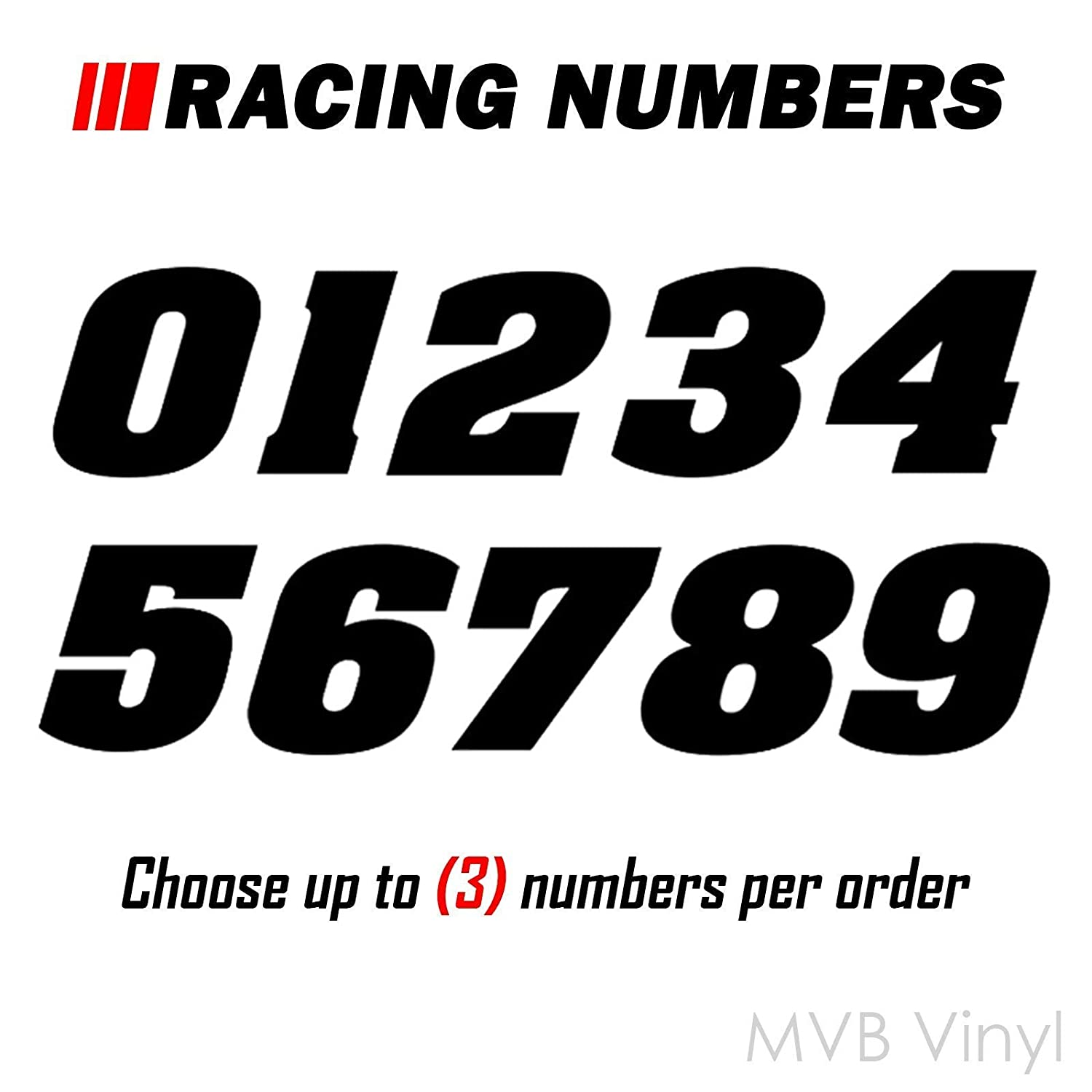 Racing Numbers Vinyl Decal Sticker 0200 Plate Numbers Style 1
