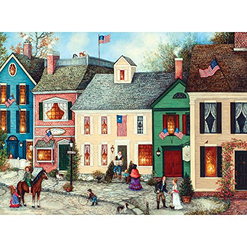Bits and Pieces - 500 Piece Jigsaw Puzzle for Adults - Flag Street - 500 pc American Jigsaw by Artist Linda Nelson - 16th Street 500