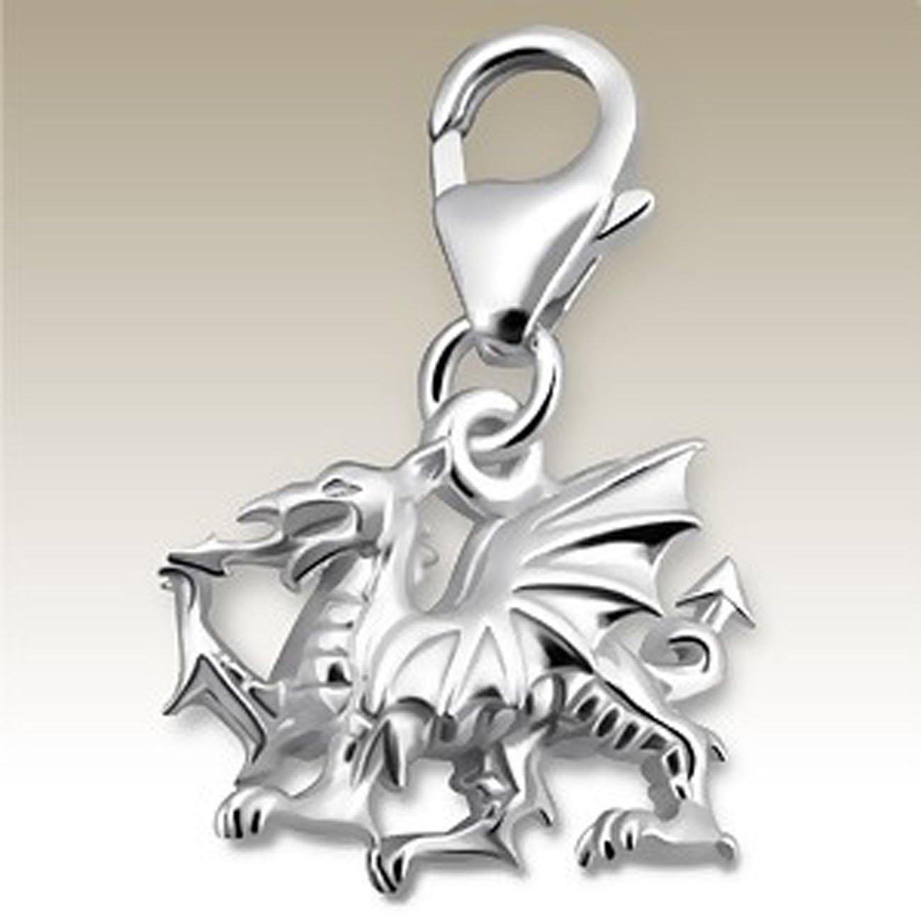 3D Dragon Charm with Lobster Clasp, Sterling Silver 925, for Charms Bracelet, Necklace (E14241)