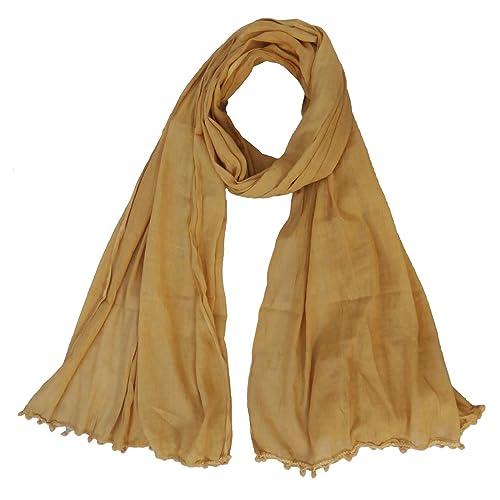 Algodón Chunni bufanda de la estola Flecos borla de pañuelos en la cabeza Wrap Dupatta Hijab