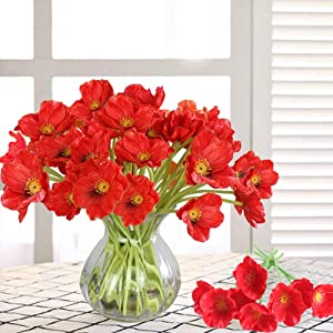 MHMJON 20PCS Artificial Poppies Flowers High Quaulity PU Fake Flowers for Indoor Outdoor Home Kitchen Office DIY Hotel Table Centerpieces Floor Garden Wedding Decor Red