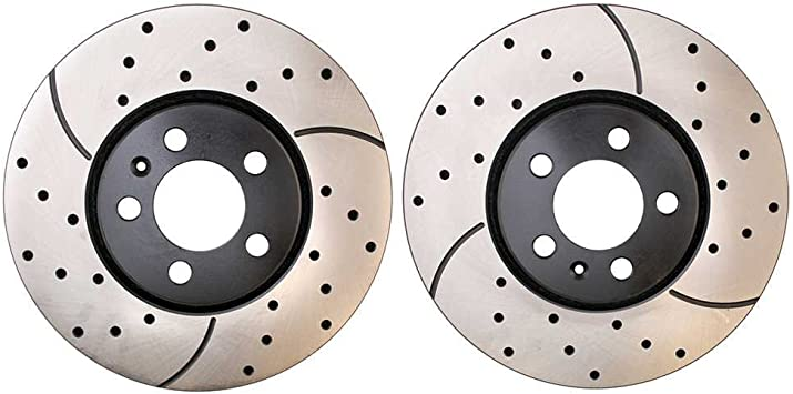 Rear Kit Approved Performance E12964 Premium Performance Drilled//Slotted Brake Rotors and Carbon Fiber Pads
