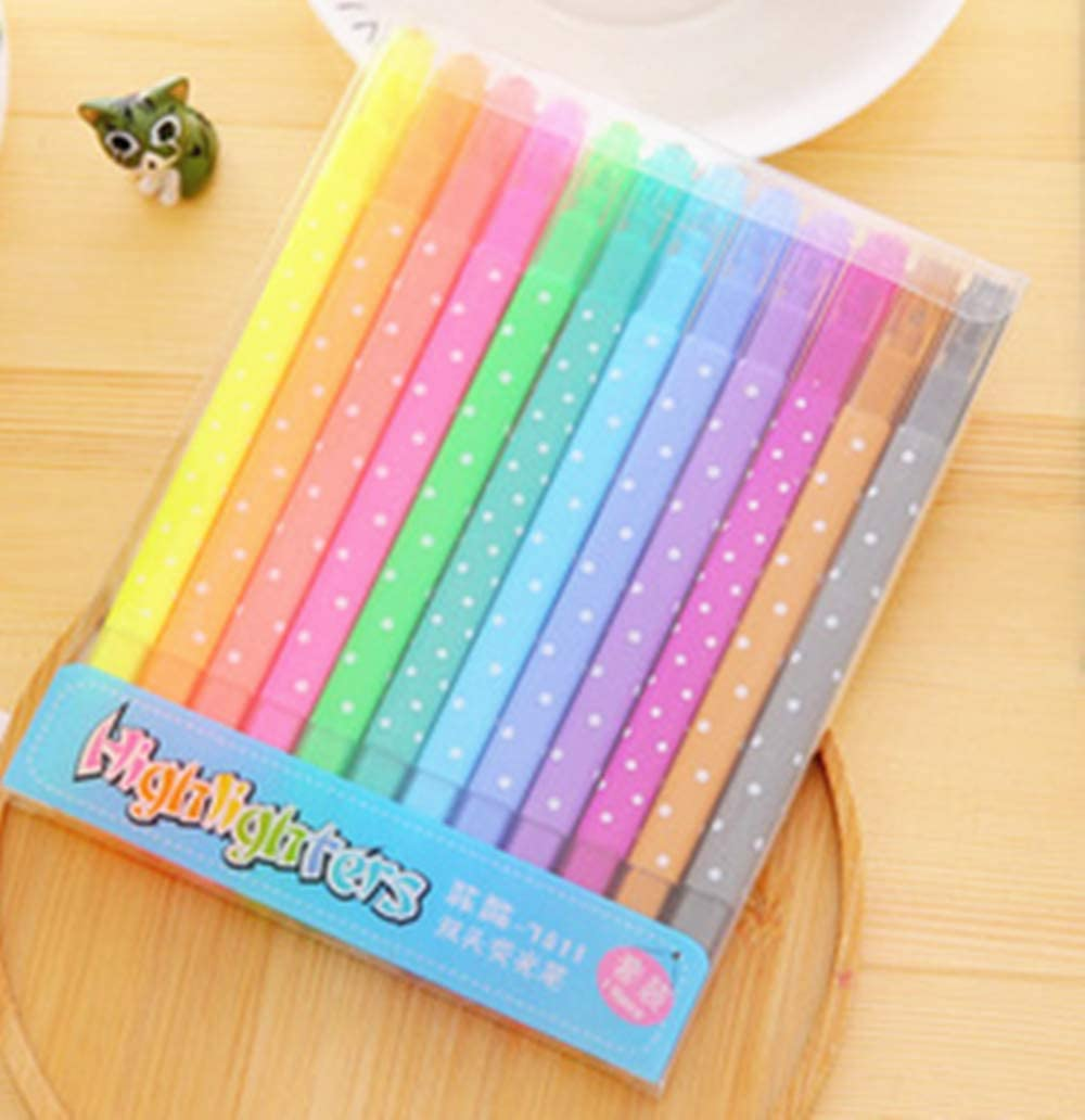 BeeSpring 12pcs//lot Sweet Candy Colored Highlighters Watercolor Pen Mark Pen
