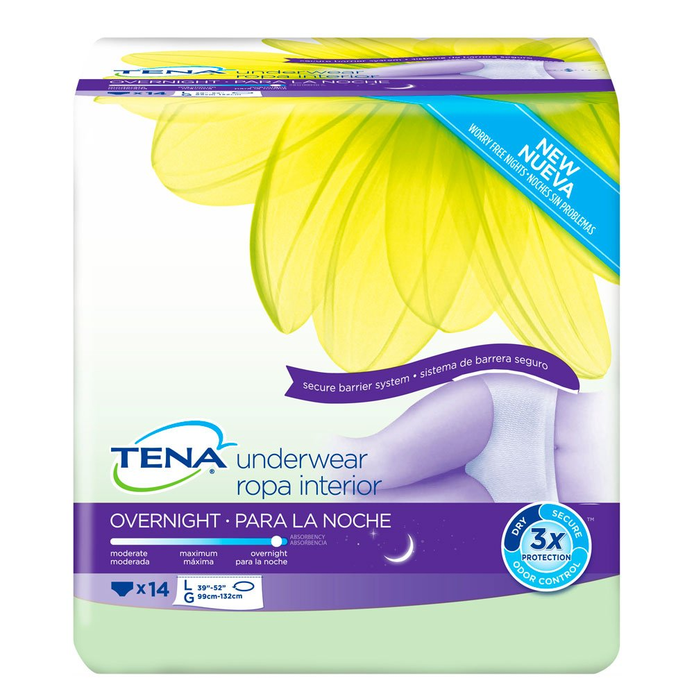 TENA OVERNIGHT UNDERWEAR LRG 14CT (4 Pack)