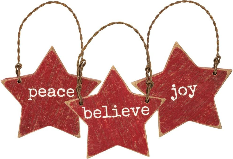 Primitives By Kathy Wooden 2 inches x 2 inches Hanging Ornament Joy Peace Believe Set of 3