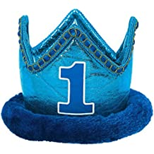 """Little Buddy Boys' 1st Birthday Party Crown Accessory, Blue, Fabric , 4"""" x 6"""", Pack of 1"""