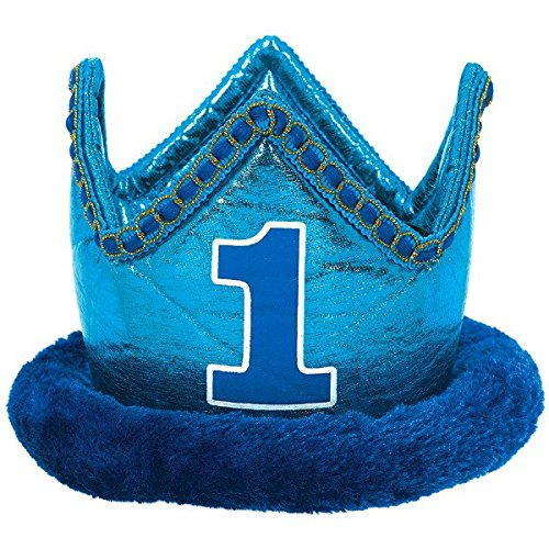 Little Buddy Boys' 1st Birthday Party Crown Accessory, Blue, Fabric , 4