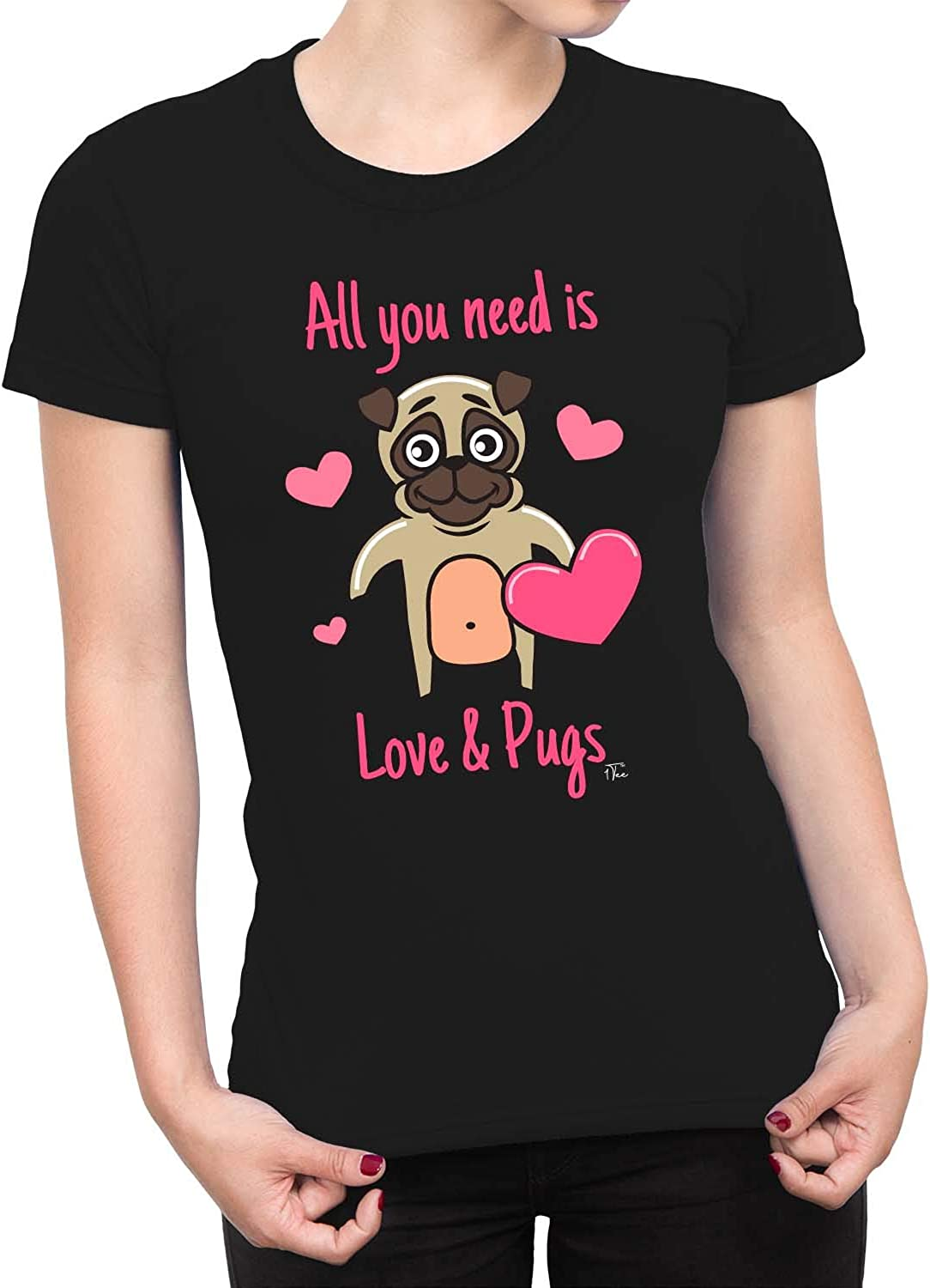 1Tee Womens All You Need Is Love and Pugs Dog T-Shirt