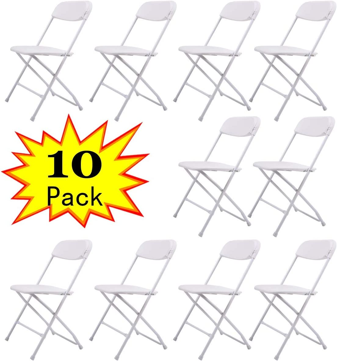Sandinrayli 10-Pack White Plastic Folding Chair Commercial Quality Stackable Outdoor Event Chair