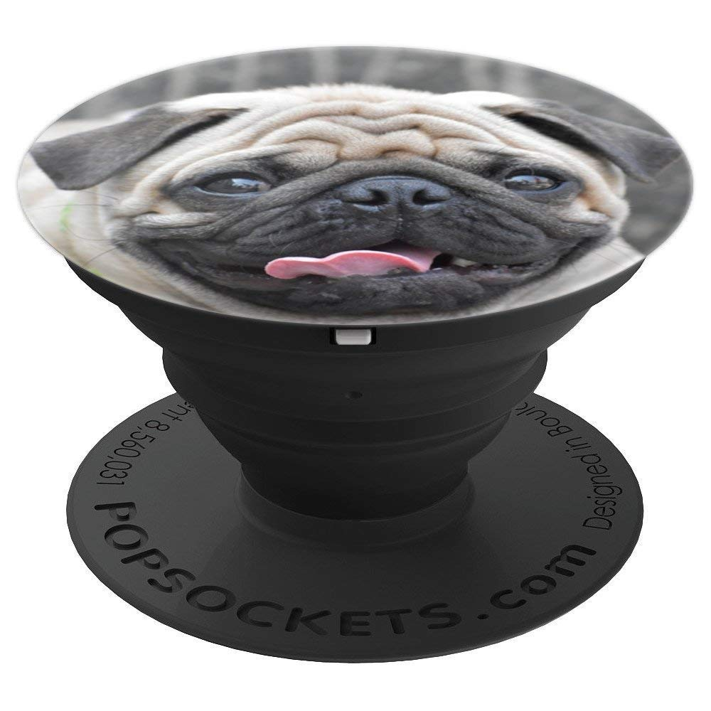 dac7220ff48 Amazon.com  White PUG Fawn Gift Accessory Cute Dog Face Portrait PUGS - PopSockets  Grip and Stand for Phones and Tablets  Cell Phones   Accessories