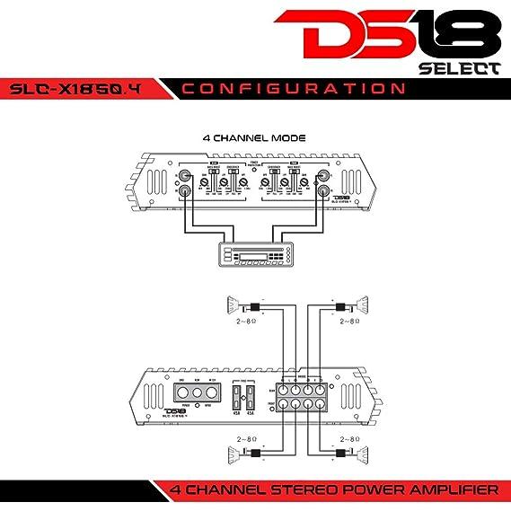 DS18 1850 W 4 Canales de Audio Coche Amplificador de Clase AB de alimentación única: Amazon.es: Electrónica