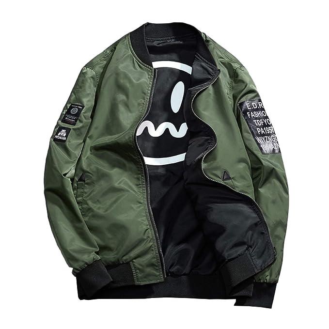 48aa0d575 Men's Smiley Emoji Faces Baseball Reversible Bomber Jacket Letter Printed  Zipper up Windbreaker Jacket Coat Outerwear