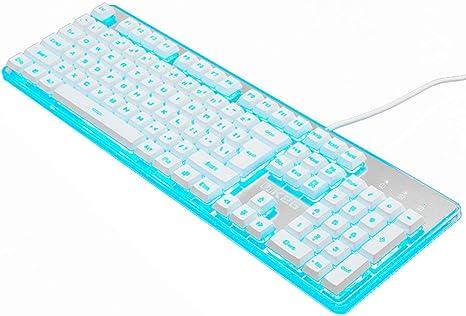 OFNMD Teclado Gaming, Mecánico Feel Blue Backlight Multimedia ...