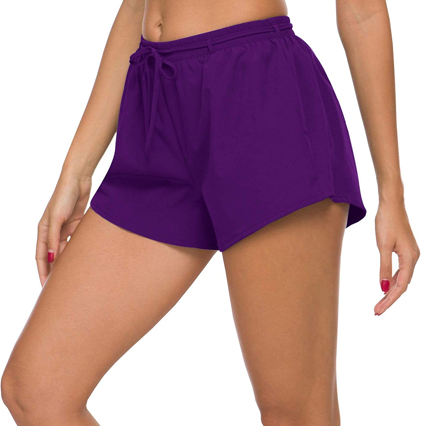ChinFun Womens Loose Fit Quick-Drying Lightweight Running Shorts Built in Lining Trunks Drawdcord Size Pockets Solid Colors
