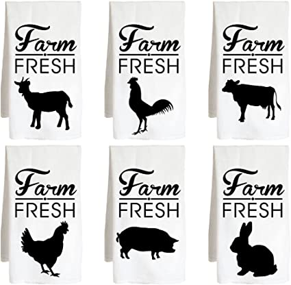 New Farmhouse Stacked Animal FARM FRESH ROOSTER PIG COW  Dish Hand Tea Towel