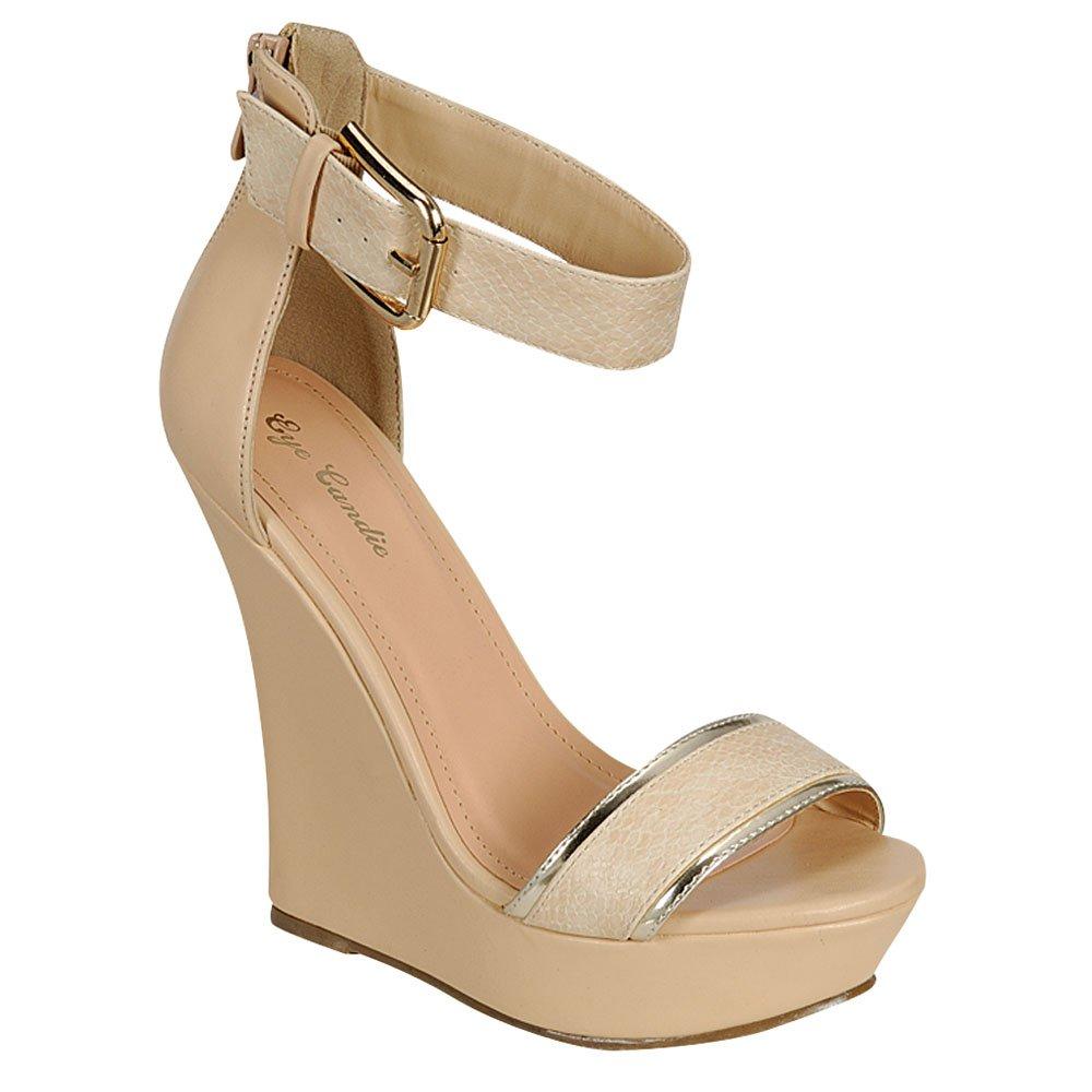EYE CANDIE Womens Citygal-503 Fashion Wedge Sandals B00K2PZ5P8 10 B(M) US|Nude