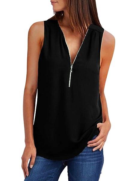 26c4fc521c2 ZKESS Women s Sleeveless V Neck Half Zip Up Tank Casual Summer T Shirt  Blouse Tops Black