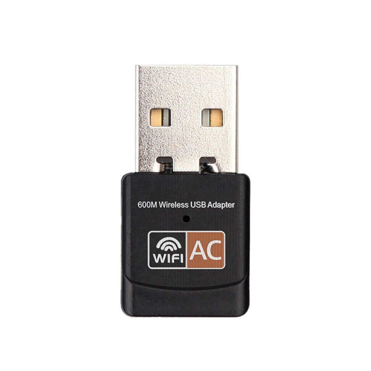 JullyeleFRgant Adaptateur USB sans Fil Portable Mini 600Mbps 2.4G / 5G Connexion à Double Bande Récepteur WiFi WiFi Dongle AC600M Home Network Card
