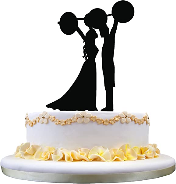 Unique Wedding Cake Topper Bride And Groom Lifting The Barbell Silhouette Amazon Co Uk Kitchen Home
