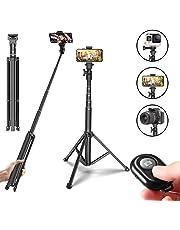 Selfie Stick Kamera Handy Stativ, 54 inches Stativ mit Bluetooth Fernbedienung für iPhone Samsung Canon Nikon Sony DSLR SLR Kamera, Leichtgewicht, Schwarz