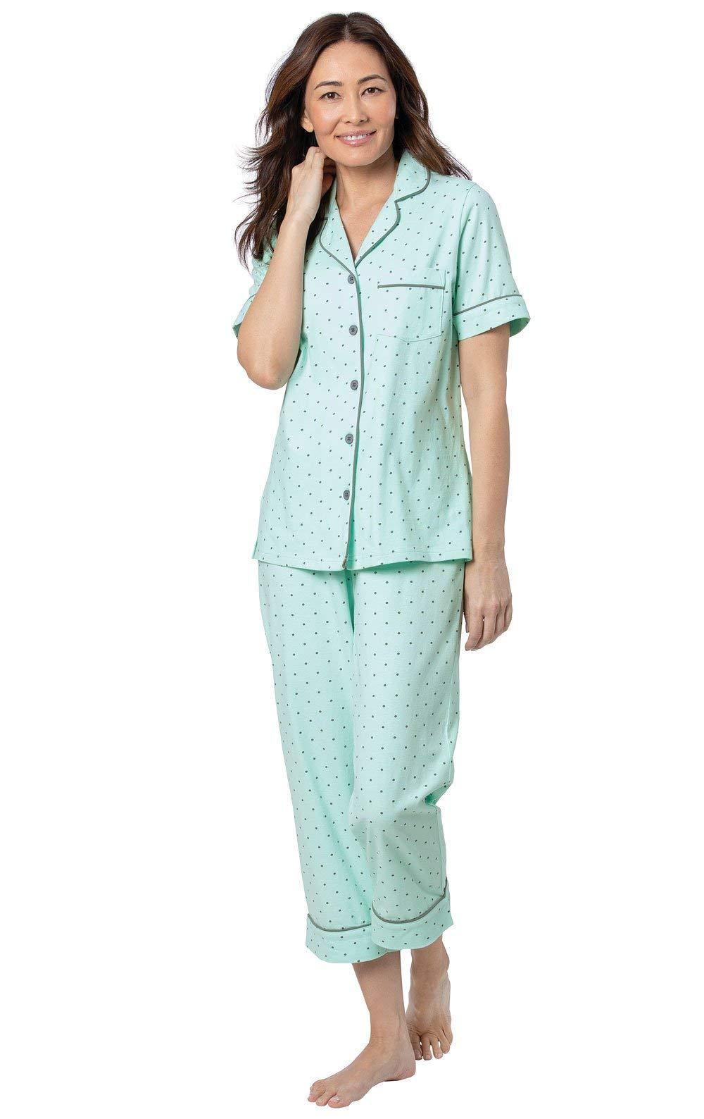 PajamaGram Womens Pajama Sets Cotton - Soft Pajamas for Women, Mint, L, 14-16 by PajamaGram