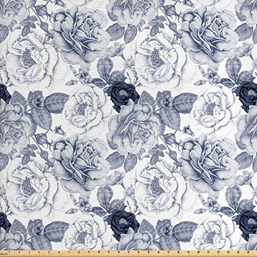 Ambesonne Shabby Chic Fabric by The Yard, Garden Spring Roses Buds with Leaves Flowers Romantic Image Artwork, Decorative Fabric for Upholstery and Home Accents, Cadet Blue and White