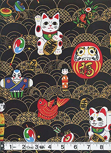 Charming Toys of Japan - Black with Gold Metallic - Asian Japanese Fabric - by The Yard
