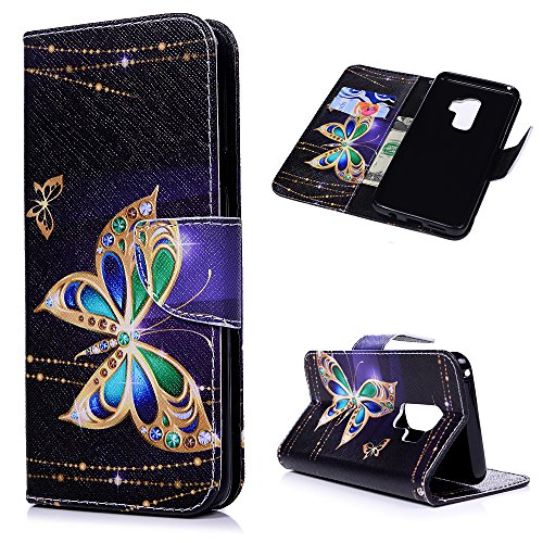 Galaxy S9 Plus Case, Printed Painting Wallet Case PU Leather Flexible TPU Inner Cover Credit ID Card Holders Magnetic Flip Slim Shockproof Stand Skin Shell for Samsung Galaxy S9 Plus, Gold Butterfly