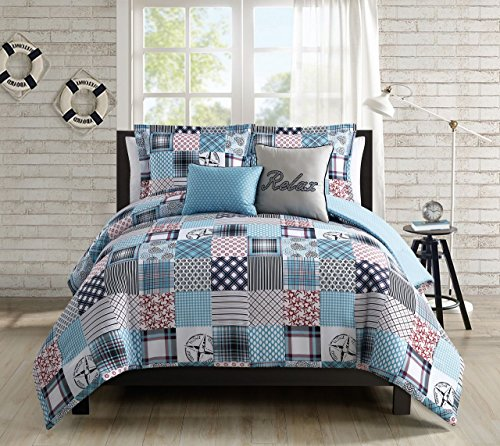 5 Piece Coastal Patchwork Reversible Comforter Set King