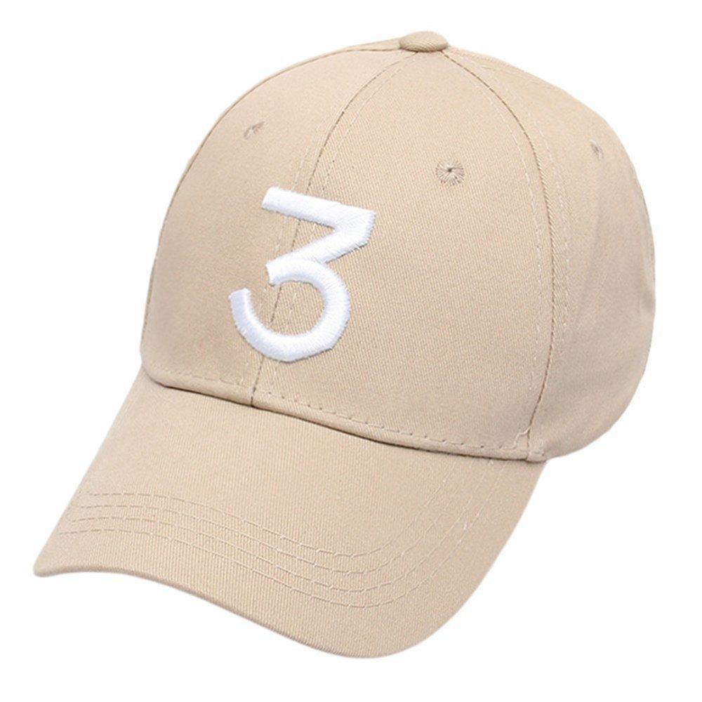 Embroider Chance Baseball Caps Hats Cool Baseball Rapper Number 3 Caps, Rock Hip Hop Classic Casquette with Adjustable Strap, Cotton Sunbonnet Plain Hat (beige)