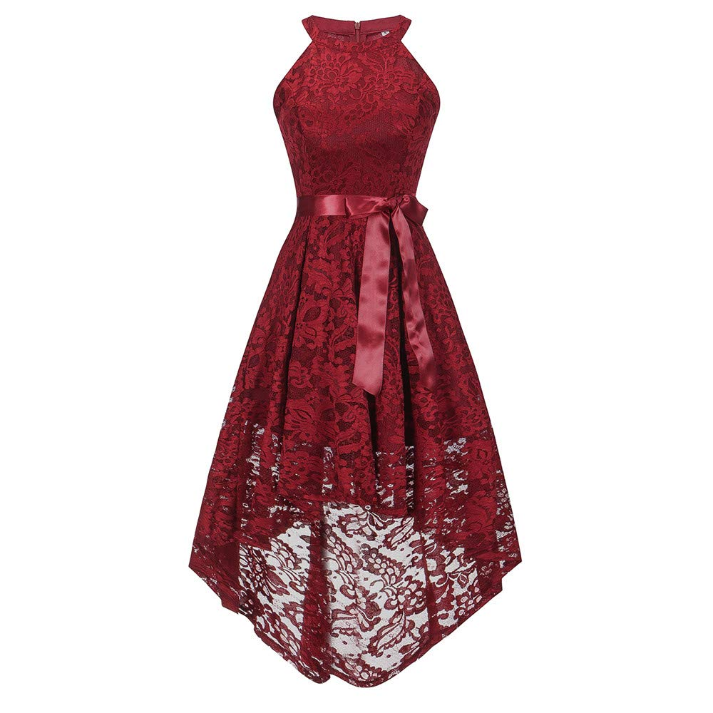 JESPER Womens Sleeveless Formal Ladies Wedding Bridesmaid Lace Long Dress US 14 Red