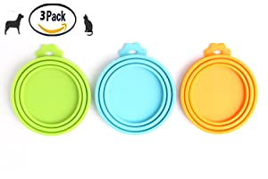 Comtim Pet Food Can Cover Silicone Can Lids for Dog and Cat Food(Universal Size,One fit 3 Standard Size Food Cans)