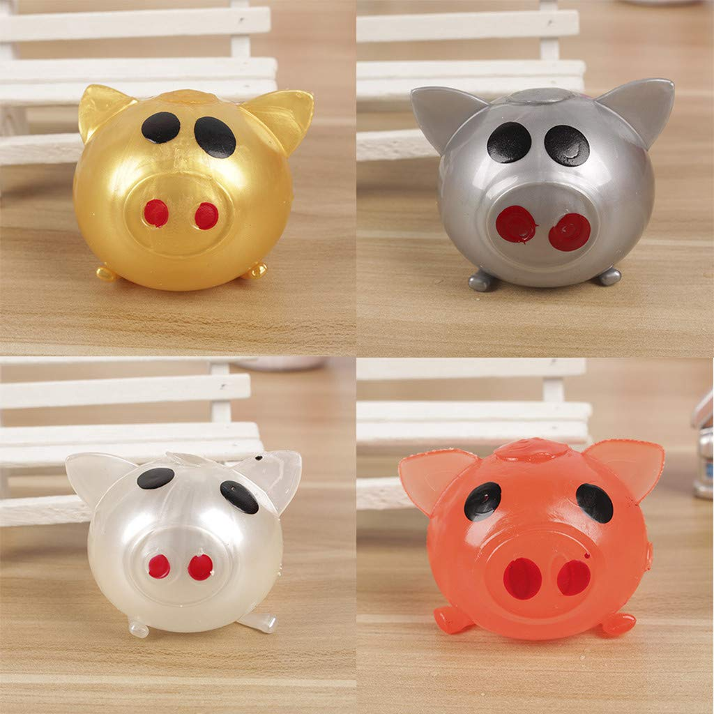 Wenini Sueeze Ball Pig Toy Anti-Stress Decompression Splat Ball Vent Toy Smash Various Styles Pig Toys (Gold) by Wenini (Image #3)