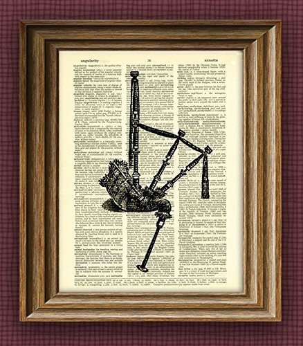 HIGHLAND BAGPIPES awesome upcycled vintage dictionary page book art print