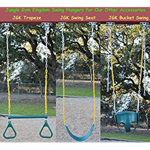 Jungle Gym Kingdom 2 Heavy Duty Swing Hangers with Locking Snap Hooks for Wooden Sets Playground Porch Indoor Outdoor Seat Trapeze Yoga | 2400 lb Capacity | Ebook Install Guide