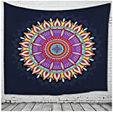 WSHINE Mandala Tapestry Floral Hippie Wall Hanging, Bohemian Bedspread Home Decortion Beach Throw Blanket