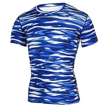 zarupeng✦‿✦ Camiseta Deportiva de Yoga Azul para Hombre ...
