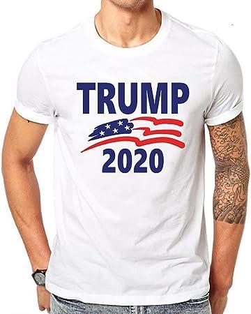 W&TT Trump 2020 Camiseta política Hombre Camisa de Manga Corta con Estampado Suelto Camiseta Blanca de algodón,C,XL: Amazon.es: Hogar