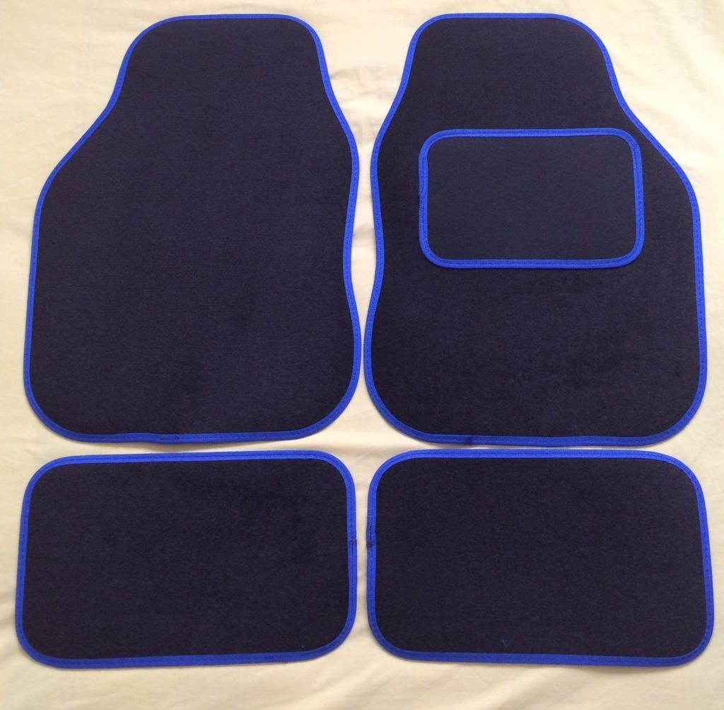 K2AUTOPARTS K2AUTOPARTSBLUETRIM6429 Universal Blue Cloth Car Mats Set, Trim Black Carpet