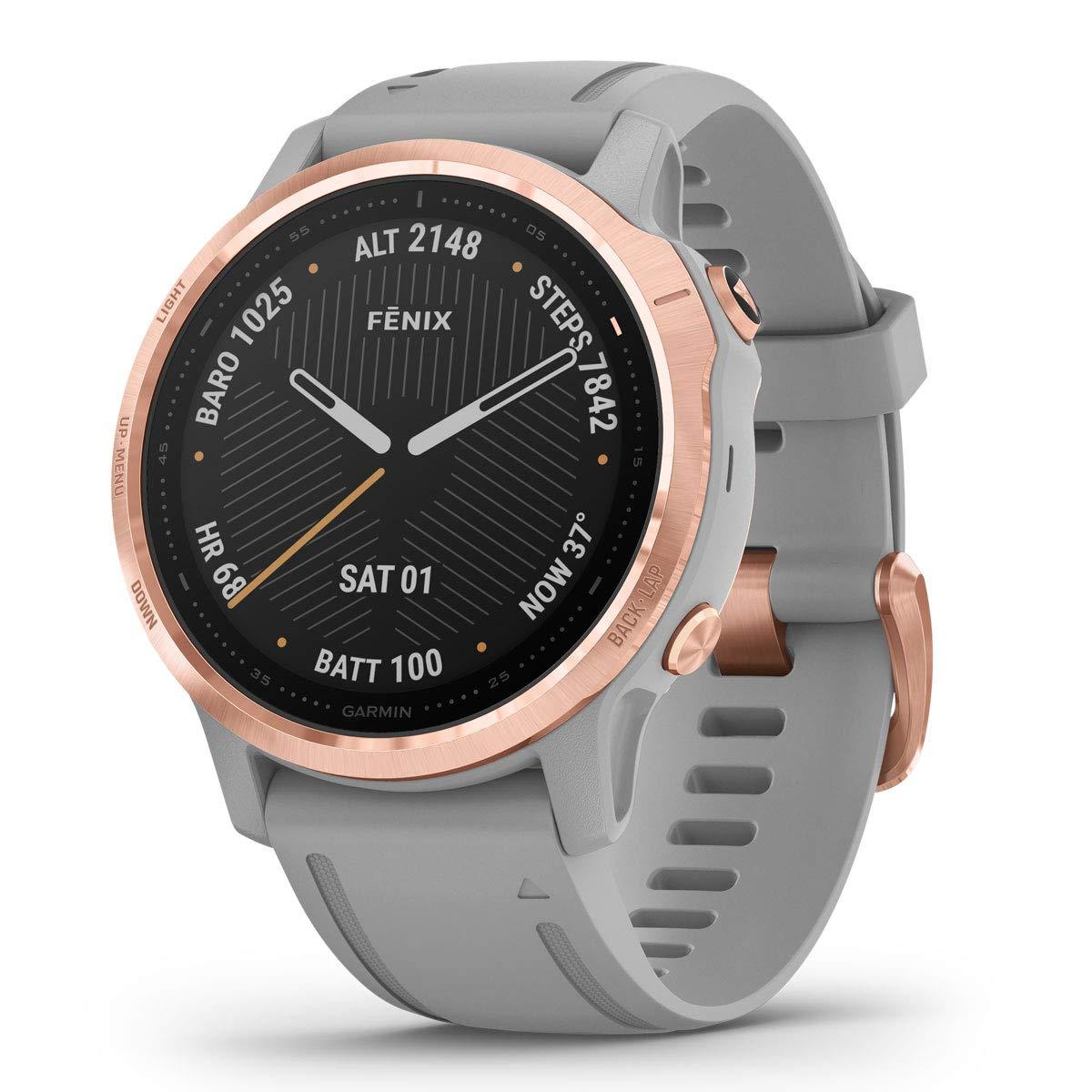 Garmin-Smartwatch-wasserdicht-fenix-Spoertuhr-100m-Wassertiefe-rosa-rosé-grau-digital