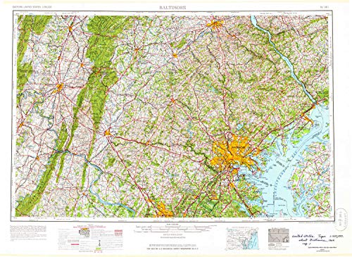 YellowMaps Baltimore MD topo map, 1:250000 Scale, 1 X 2 Degree, Historical, 1957, Updated 1964, 22.3 x 30.5 in - Paper