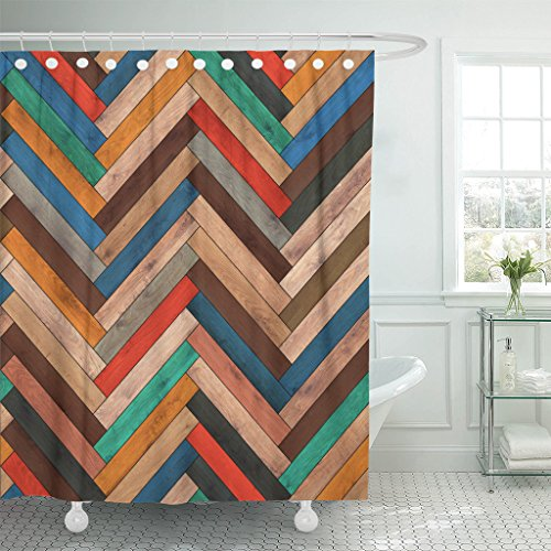 Arrow Clipart - TOMPOP Shower Curtain Colorful Pattern Wood Parquet Herringbone Clipart Chevron Arrow Floor Waterproof Polyester Fabric 72 x 78 Inches Set with Hooks